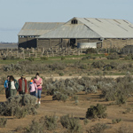 Starting the Foreshore Walk from Mungo Woolshed. Photograph © Boris Havlica