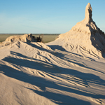 The Lake Mungo lunette has eroded significantly in the recent past. Photograph © Ian Brown